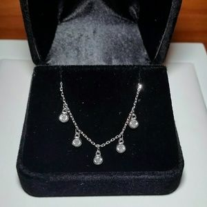 Jewelry - Sterling Silver simulated diamond choker necklace